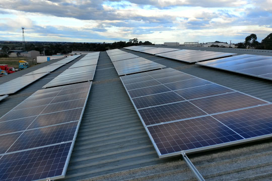 Installed solar panels on Dyers depot roof